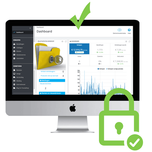 optimale beveiliging webshop met SSL-verbinding (https://) en wachtwoorden versleuteld (encrypted)