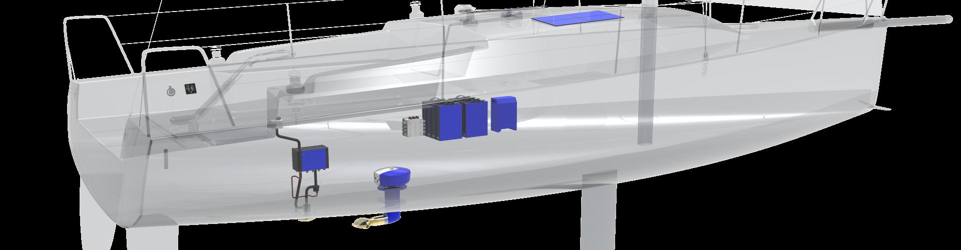 Oceanvolt monohull installatie voorbeeld