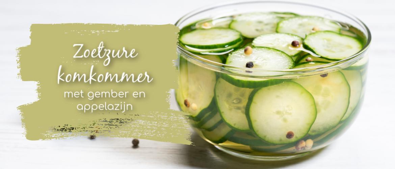 Zoetzure komkommer, met gember en appelazijn, snel en lekker!