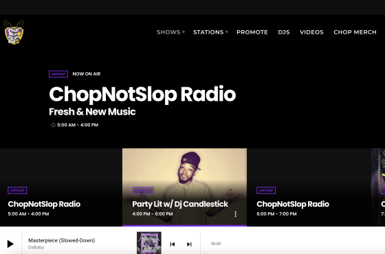 Chopnotslop video platform with AudiencePlayer
