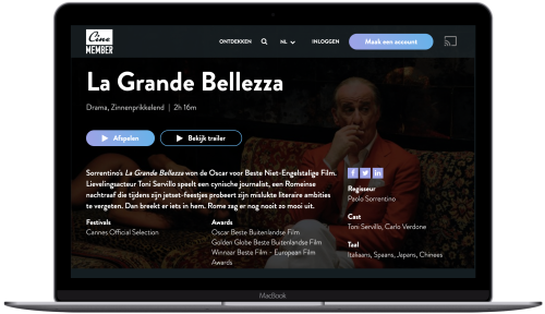 Movie streaming platform with AudiencePlayer