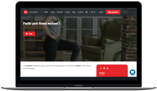 stream workout on demand with AudiencePlayer