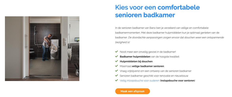 Kies voor een veilige senioren badkamer - Bano Benelux