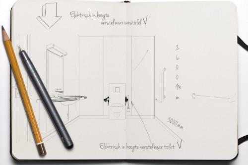 Senioren badkamer ontwerpen - Maatschets