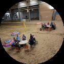 congres, teambuidling, vergadering op het zand.