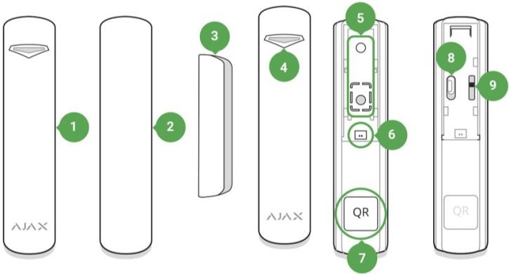 AJAX DoorProtect handleiding functionele elementen