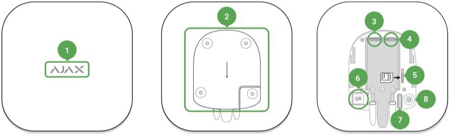 AJAX Hub handleiding aansluitingen