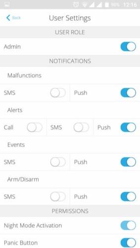 AJAX Hub handleiding notificatie instellingen