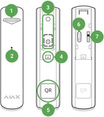 AJAX GlassProtect Manual functional elements