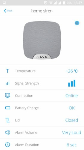 AJAX HomeSiren manual values in application
