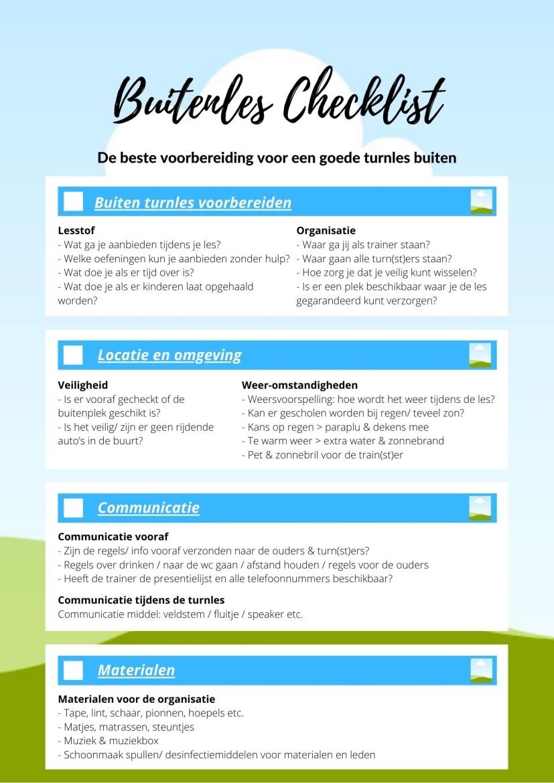 Buiten turnen checklist