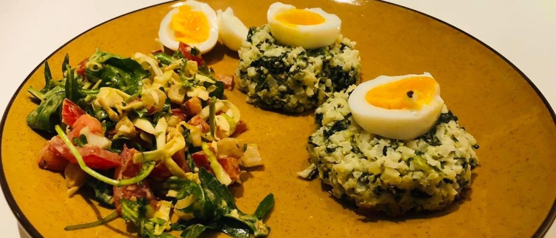 Bloemkool spinazie bollen met salade Stap 4