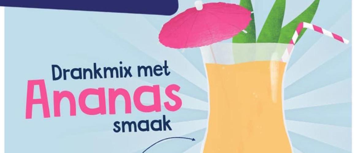 Nieuw! Drankenmix smaak Ananas Nu wordt water drinken nog makkelijker.
