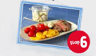 biefstuk-aardappel-champignons vanaf stap 6 van het dieet