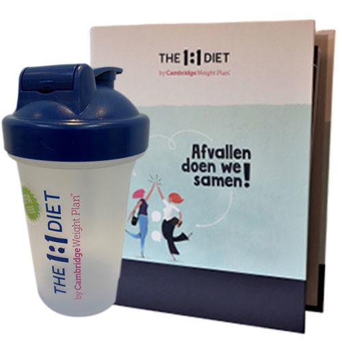 1 op 1 dieet boek en shake beker