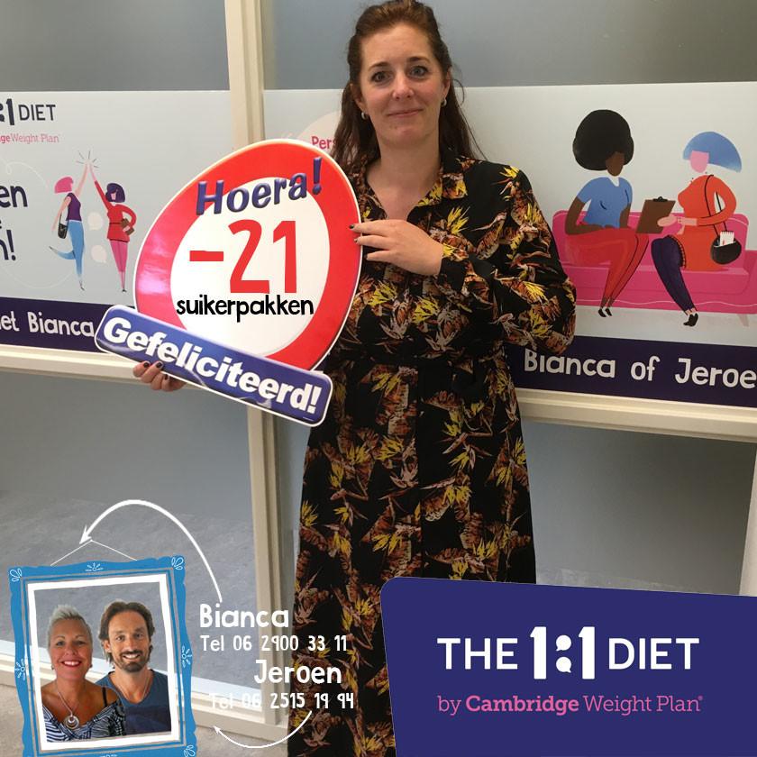 21 kilo afgevallen met het 1 op 1 dieet met Bianca en Jeroen