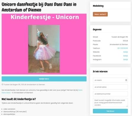 Pagina op Go-Kids met contactgegevens