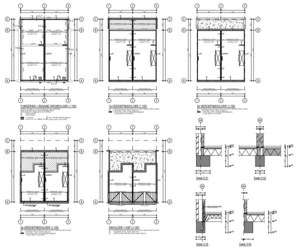 Voorbeeld bouwtekeningen