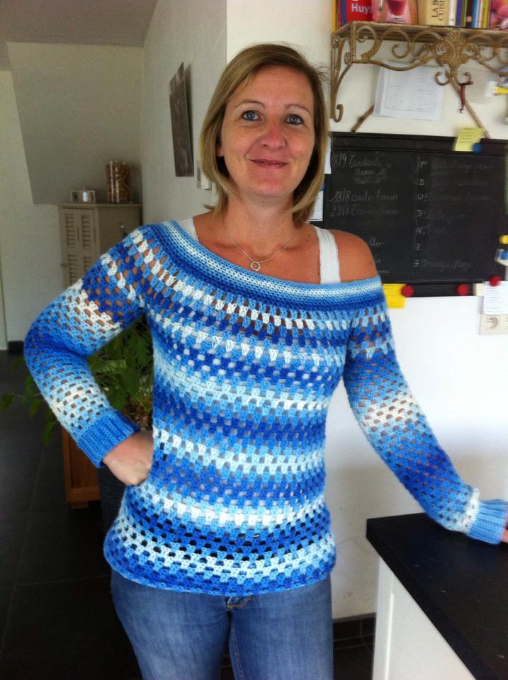 Gehaakte granny stripe trui Breiclub.nl