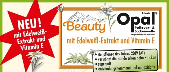 Opal Beauty 4-draads sokkenwol met Edelweiss en vitamine E