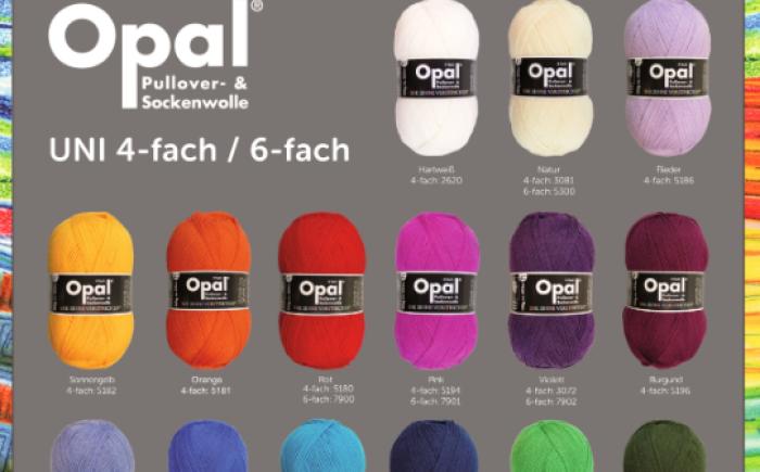 Opal sokkenwol in mooie uni kleuren verkrijgbaar in 2 verschillende diktes