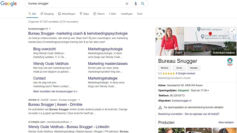 google mijn bedrijf bureau snugger