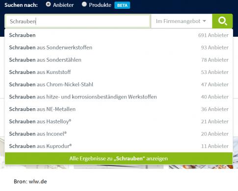 B2B zoekmachines of Lieferantenverzeichnisse