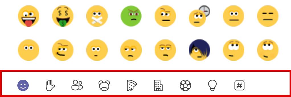 Verschillende categorieën emoji's Teams