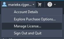 Selecteer Manage License