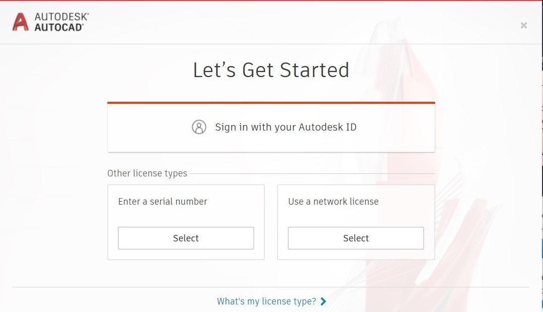 Klik op Sign in with your Autodesk ID.