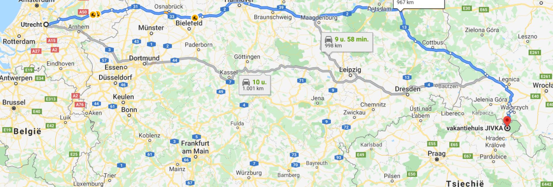 Reistijd naar het reuzengebergte in Tsjechië