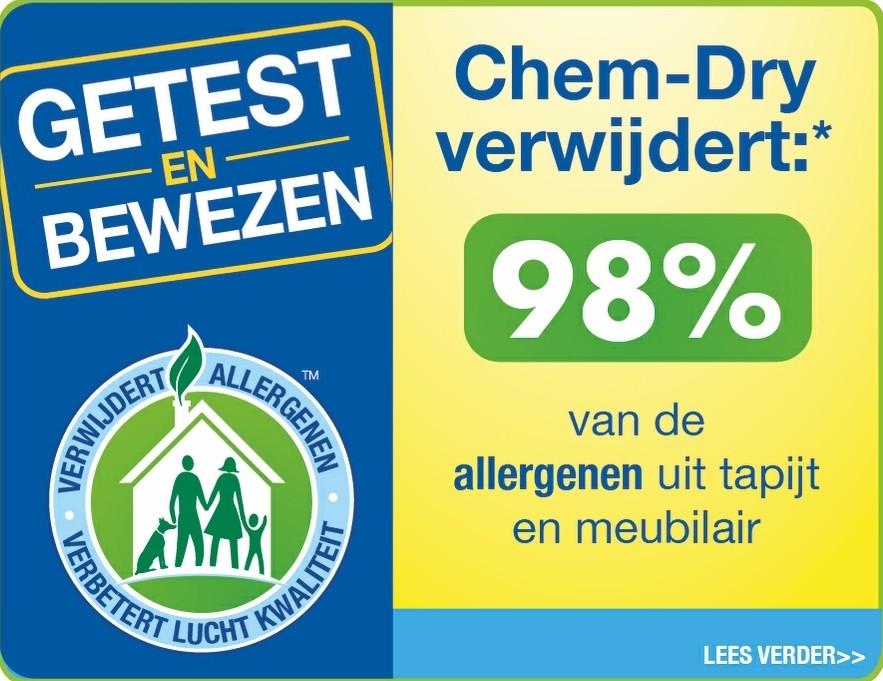 Chem-Dry verwijdert 98% van de allergenen uit tapijt en meubilair
