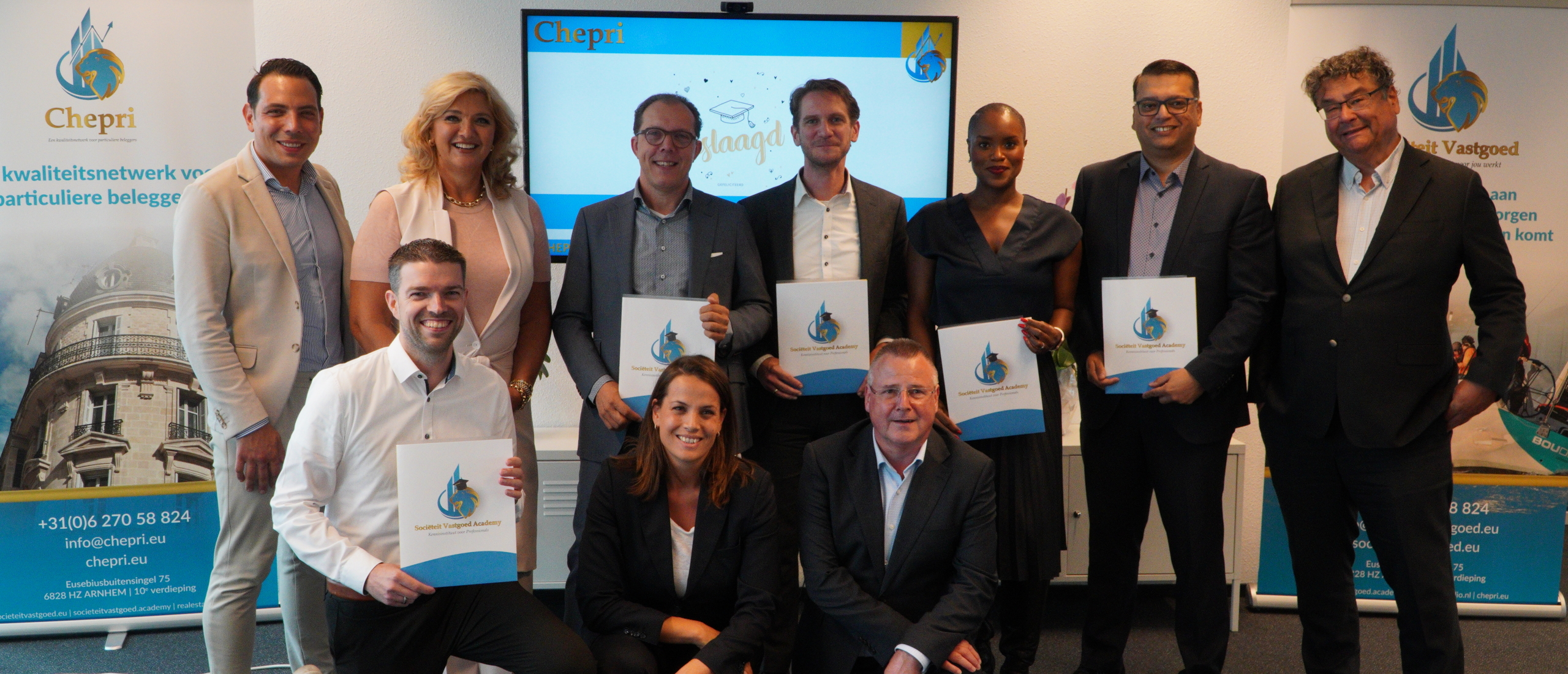 Chepri feliciteert kandidaten die opleiding Beleggen in Vastgoed succesvol hebben afgerond