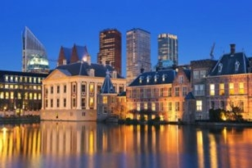 Afbeelding van de stad Den Haag (het Mauritshuis en Binnenhof aan de Hofvijver)