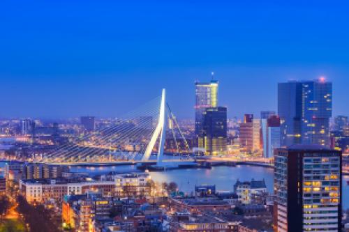 Afbeelding van de stad Rotterdam (skyline met de Erasmusbrug)