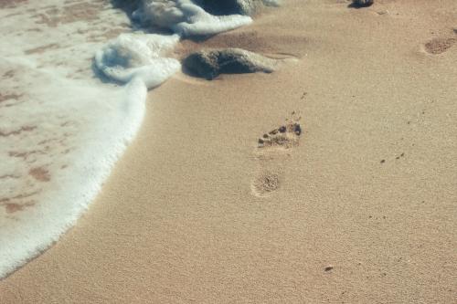 footprint op het strand