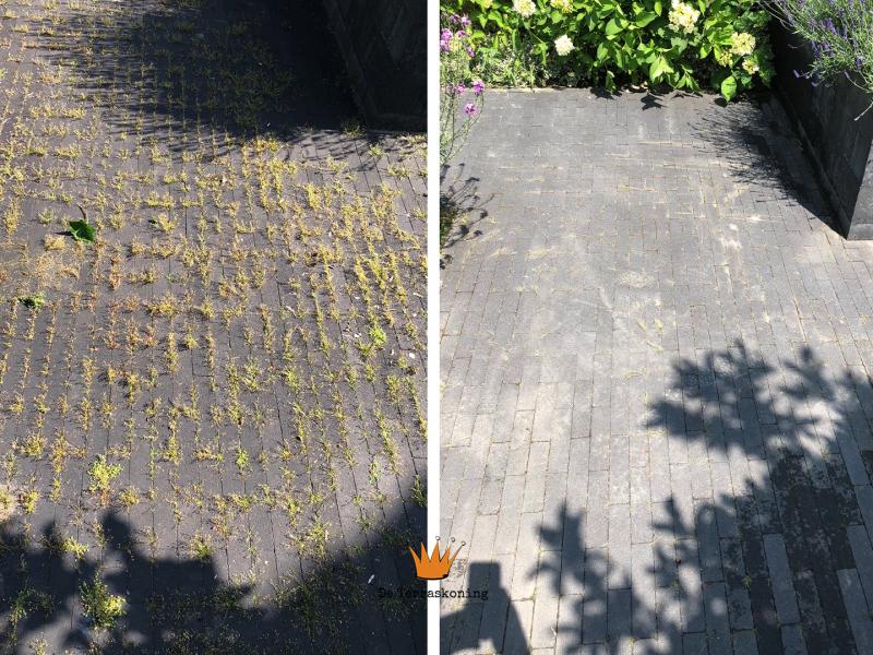 Tegels en onkruid reinigen - Tegels en onkruid schoonmaken- projecten - De Terraskoning
