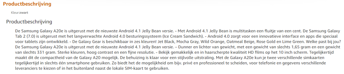 Amazon productbeschrijving