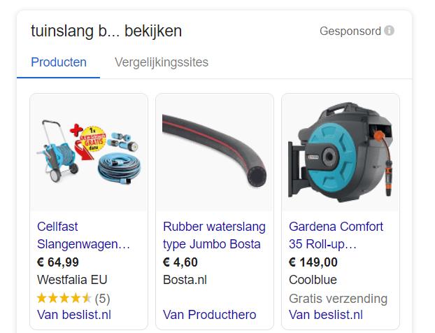 Google Shopping CSS voorbeeld