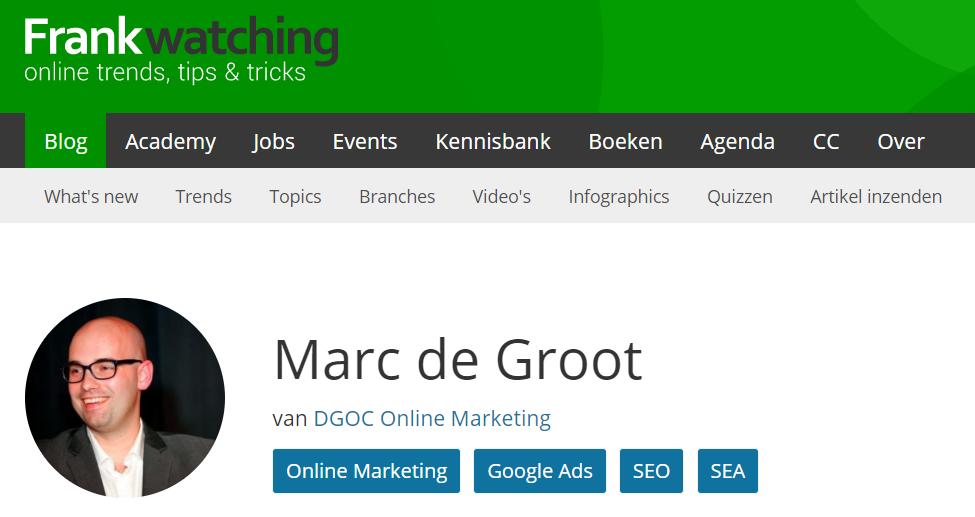 Frankwatching profiel Marc de Groot