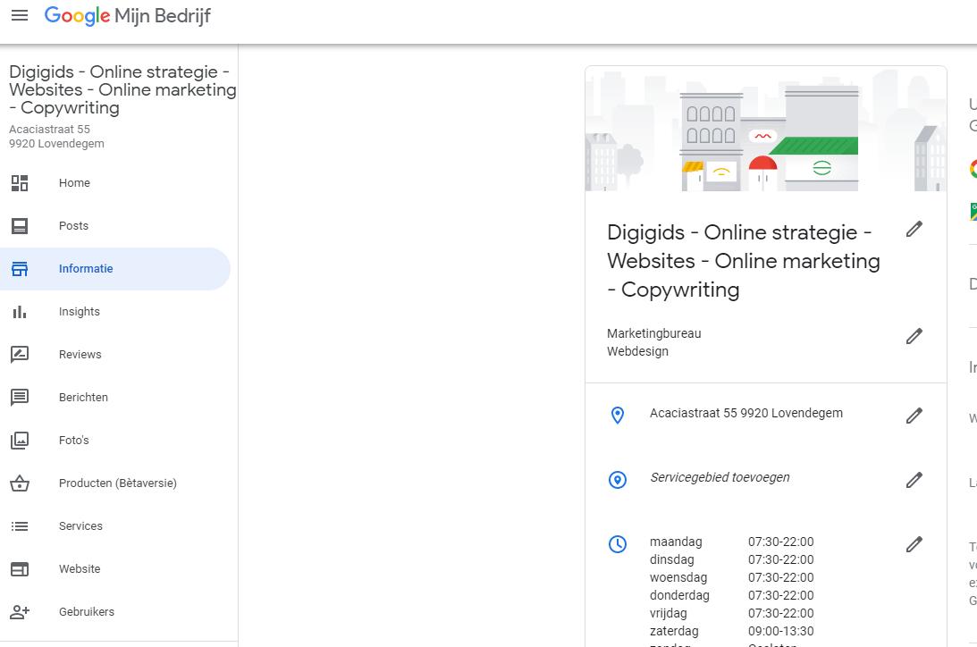 Google Mijn Bedrijf informatie