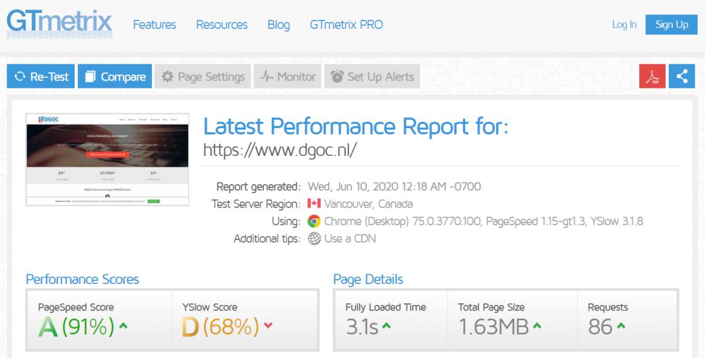 GTmetrix website speed test