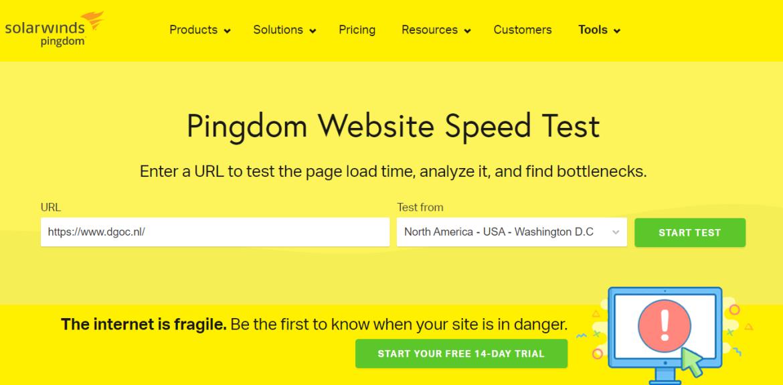Website snelheid test van Pingdom