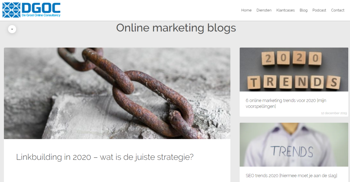 Actuele website door blogs