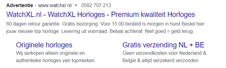Search ad voorbeeld