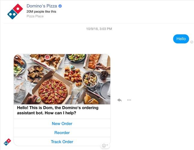 Domino's chatbot voorbeeld