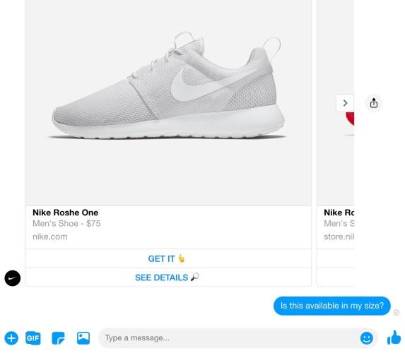 Nike schoenen via de chatbot