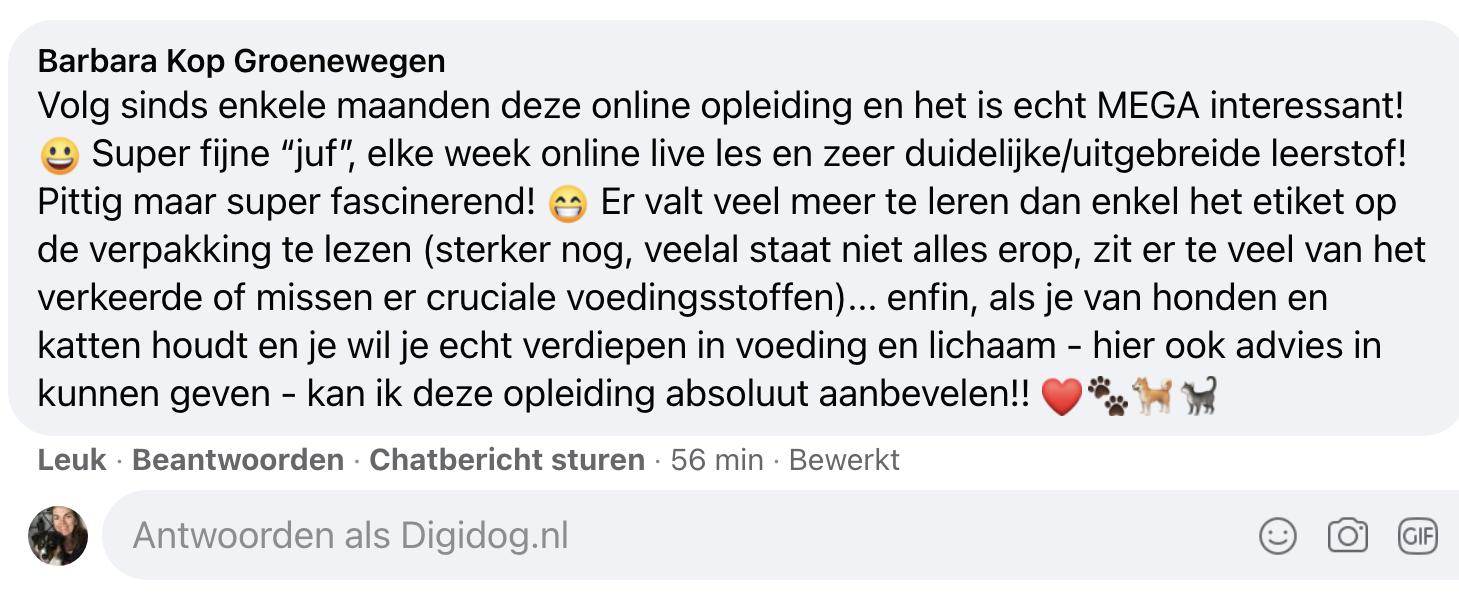 Reactie van Barbara (op fb) over de opleiding