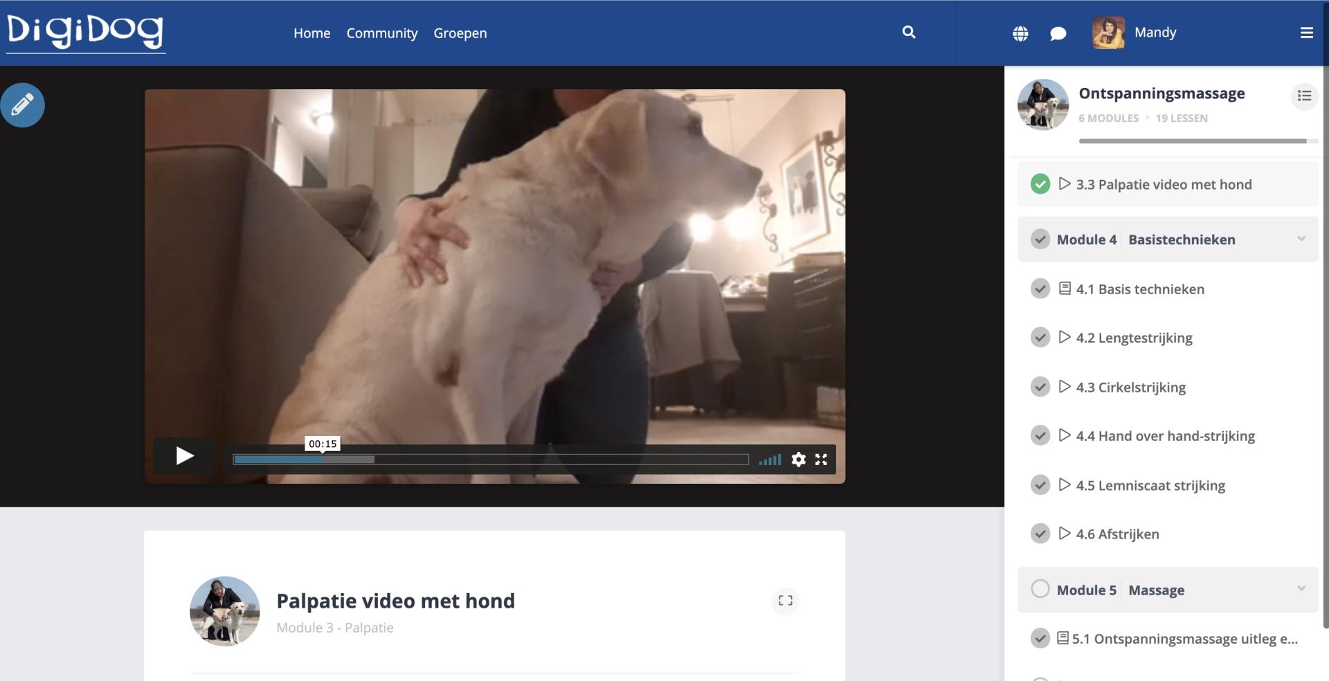 Workshop Ontspanningsmassage: Video met hond