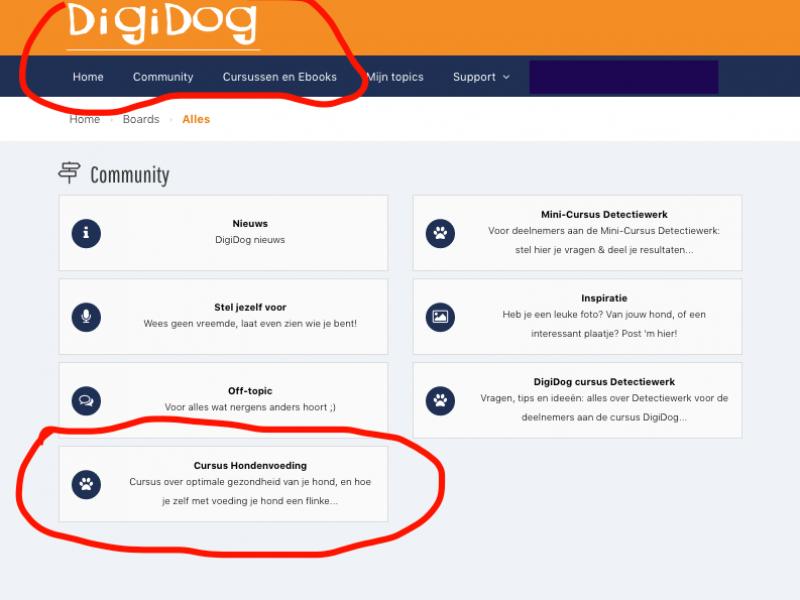 DigiDog Ledenomgeving en besloten speciale community